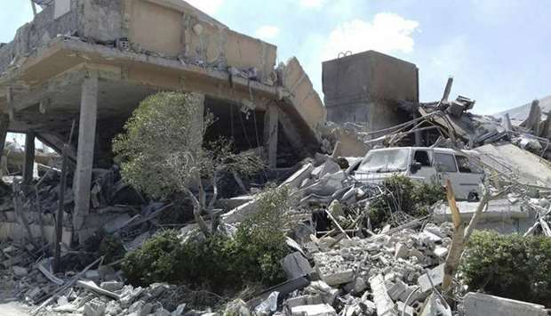 The ruins of Syrian Scientific Research Centre