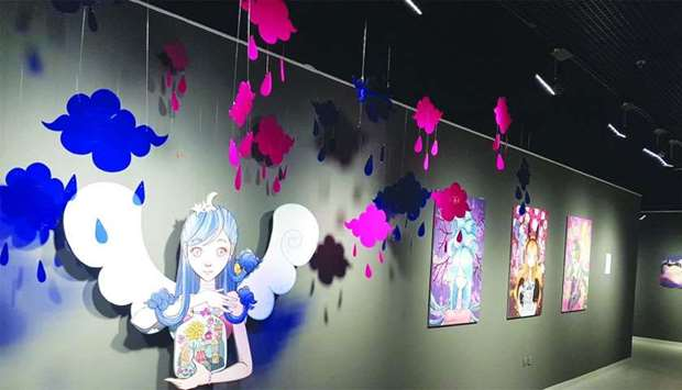 Qatari artist Kholoud al-Ali's works on display at the 'The Colour Bar' exhibition at Building 19. P