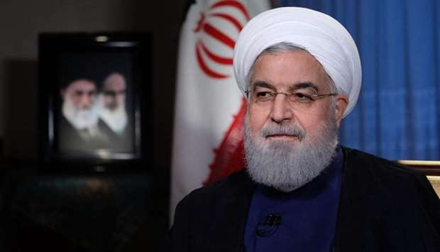 President Hassan Rouhani giving an interview to the Iranian TV in Tehran