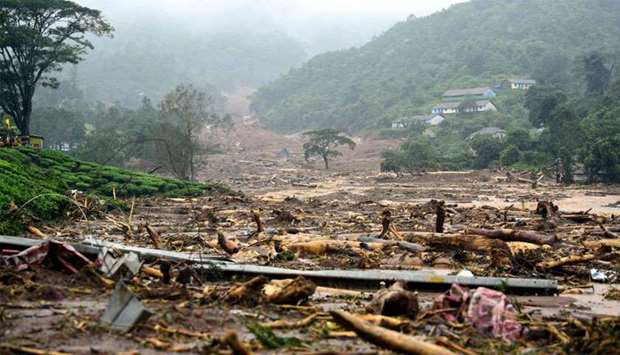 A damaged area is pictured following a landslide in Meppadi, Wayanad district, in the Indian state o