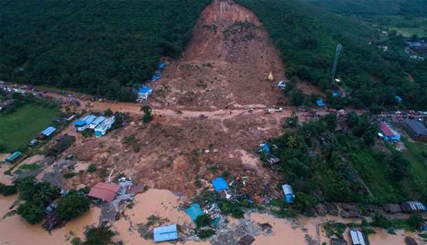 This aerial view shows a landslide in Thalphyugone village in Paung township, Mon state