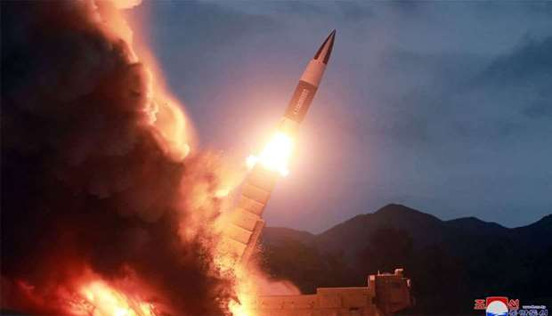 Picture released from North Korea's official Korean Central News Agency (KCNA) shows the test-fire o