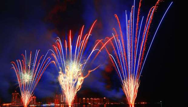 fireworks light up the sky over Katara - The Cultural Village