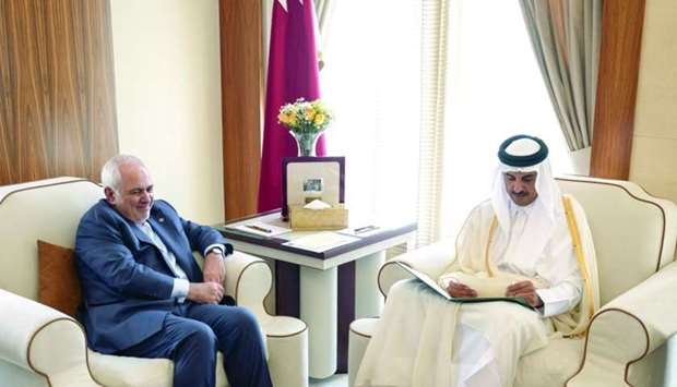 His Highness the Amir Sheikh Tamim bin Hamad al-Thani on Monday received a written message from Iran