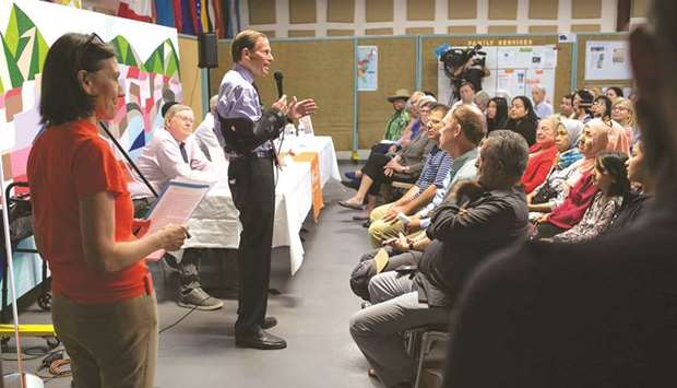 Senator Richard Blumenthal (D-CT) speaks at a town hall-style event held to reassure nervous immigra