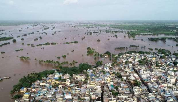 An aerial view of waterlogged Jamkhandi Taluk at Belgaum district of Karnataka state situated about