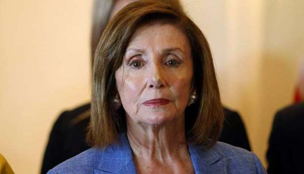 US Speaker of the House Nancy Pelosi is pictured during a news conference at the Presidential House