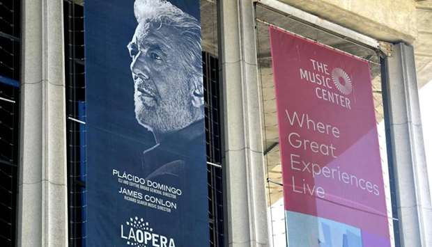 A banner showing the Los Angeles Opera's General Director, Spanish tenor Placido Domingo, hangs from