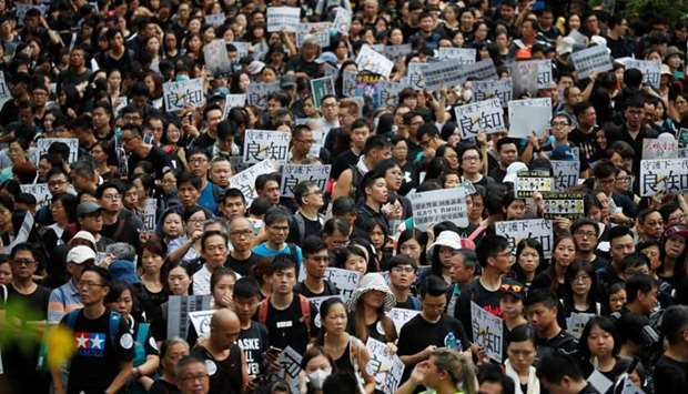 Teachers protest against the extradition bill during a rally organised by Hong Kong Professional Tea