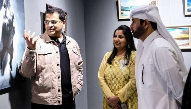 IN CONVERSATION: Adnan seen with the General Manager of Katara Dr Khalid bin Ibrahim al-Sulaiti duri