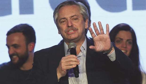 Presidential candidate Alberto Fernandez speaking in Buenos Aires earlier this month.