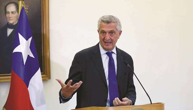 UN High Commissioner for Refugees (UNHCR) Filippo Grandi speaks with the media.