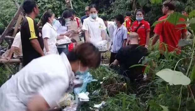 Rescue personnel and medics at the scene of accident- Bus accident Laos