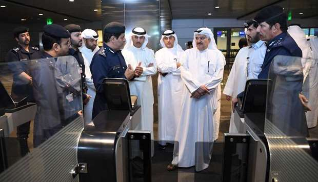 The Kuwaiti delegation listens to a briefing about the electronic gates at Hamad International Airpo