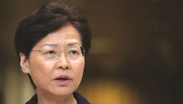Hong Kong chief executive Carrie Lam speaks during a news conference in Hong Kong yesterday.