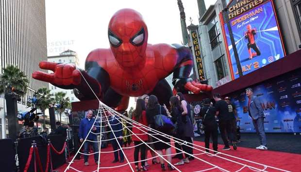 "Spider-Man is displayed on the red carpet for the ""Spider-Man: Far From Home"" World premiere at the"
