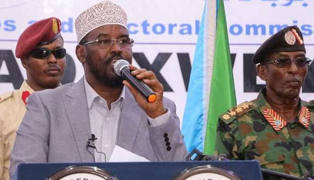 Ahmed Madobe (C), speaks after his reelection as President of Jubaland