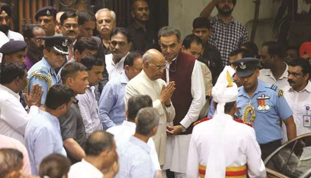 President Ram Nath Kovind leaves after paying tribute to former finance minister Arun Jaitley at his