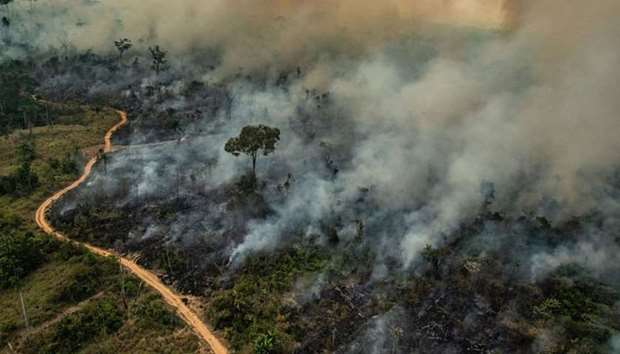 Smoke billowing from fires in the forest in the Amazon biome in the municipality of Altamira