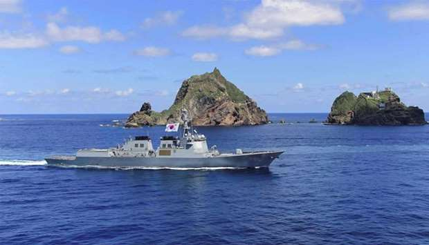 South Korean Navy's Aegis-equipped destroyer, Sejong the Great, participating in a military drill re