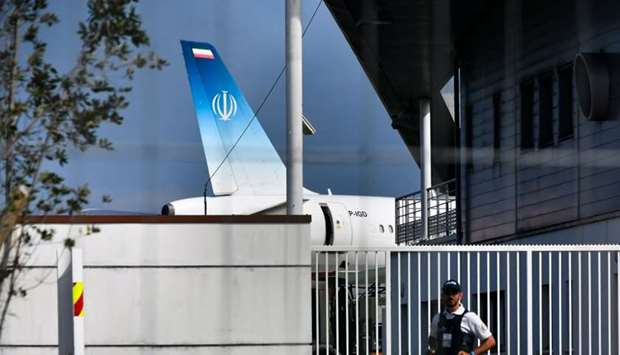 The air-plane which carried Iran's Foreign Minister Mohammad Javad Zarif stands on the tarmac at the