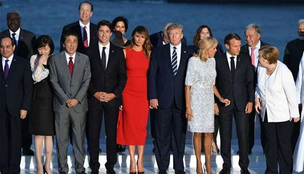 French President Emmanuel Macron and his wife Brigitte Macron, U.S. President Donald Trump and First