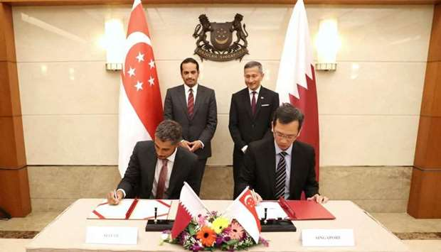 HE Sheikh Mohamed and Balakrishnan witness the signing of MoUs between QFZA and leading entities in