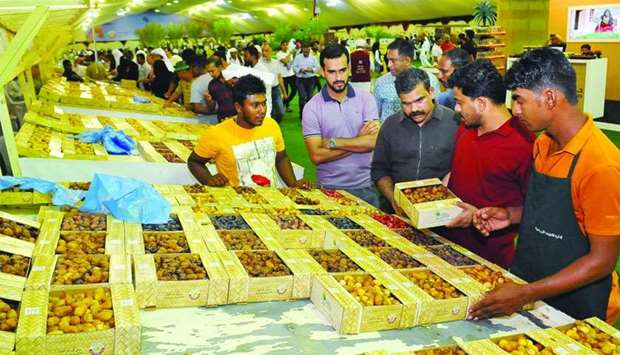 A view of the rush at the Local Dates Festival at Souq Waqif. PICTURE: Nasar K Moideen.
