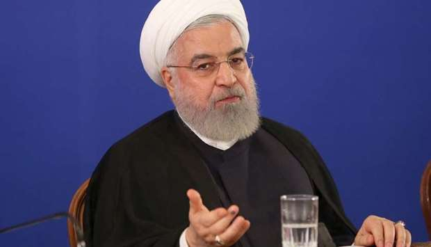President Hassan Rouhani addressing a meeting with the staff of the Islamic republic's foreign minis