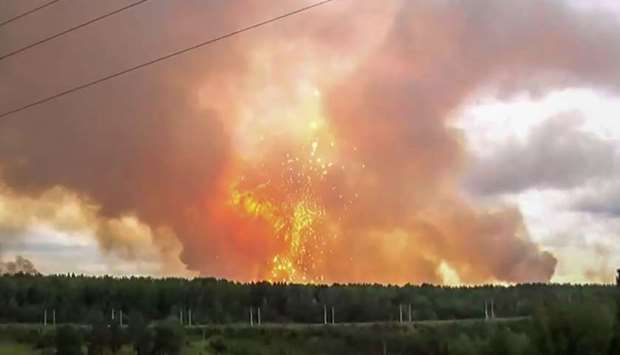 Explosions at an ammunition depot near the town of Achinsk in the Krasnoyarsk region