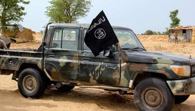 A vehicle allegedly belonging to the Islamic State group in West Africa (ISWAP) is seen in Baga on A