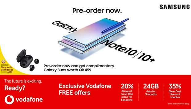 Vodafone Qatar announces pre-order for Samsung Galaxy Note10