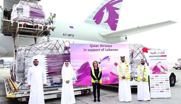 Qatar Airways Group chief executive HE Akbar al-Baker and other officials at the HIA on Sunday.