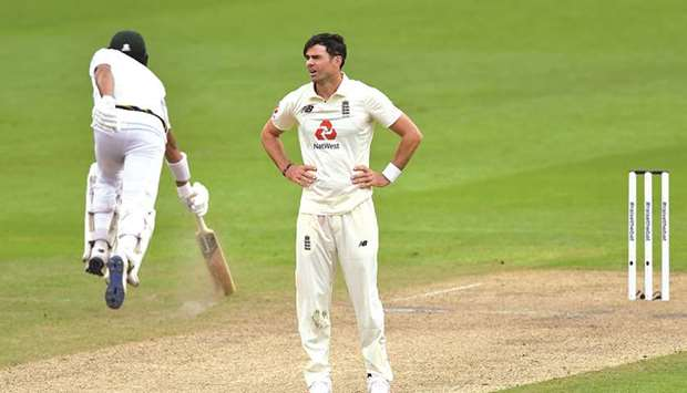 England's James Anderson reacts as Pakistan pile on the runs on the second day of the first Test at