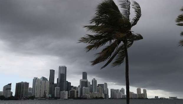 Storm clouds are seen over the city as Hurricane Isaias approaches the east coast of Florida