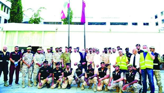 Qatari and Lebanese dignitaries and officials at the opening of the first Qatar field hospital in Be