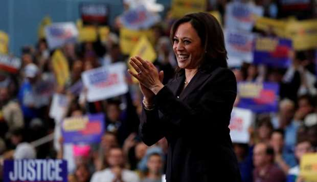 US Senator Kamala Harris holds her first organizing event in Los Angeles as she campaigns in the 202