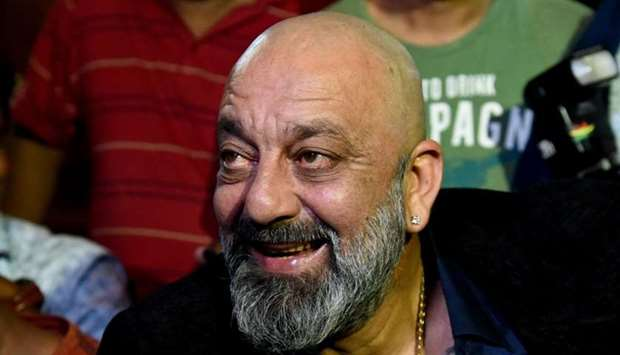 In this file photo taken on December 20, 2018 Indian Bollywood actor Sanjay Dutt during the wedding