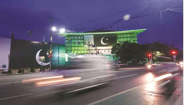 Pakistani flags and lights