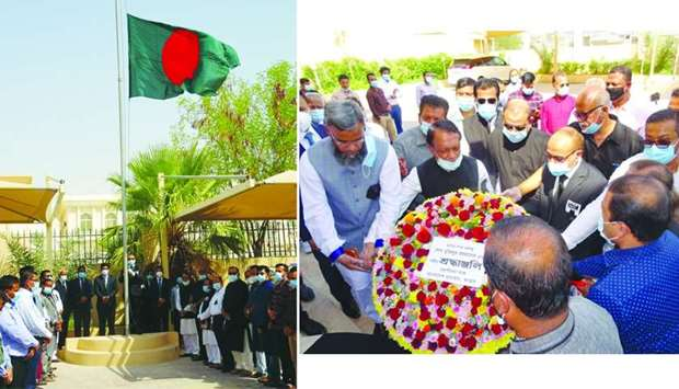 The national flag was hoisted at half-mast on the occasion ; A floral wreath was laid at a portrait