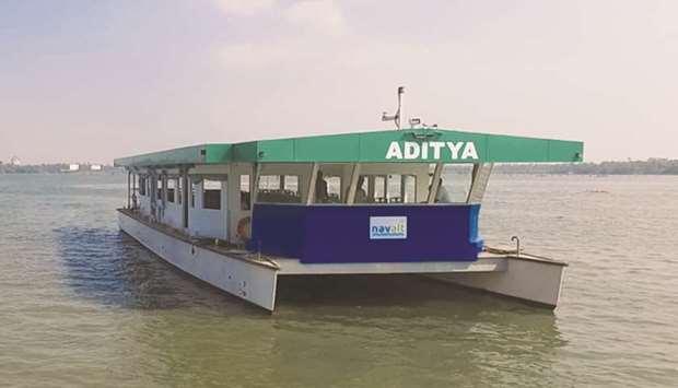 Each day, solar ferry Aditya carries about 1,700 passengers on a 3km (1.9-mile) route across the lak