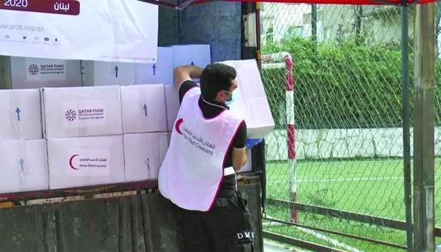 Distribution of food baskets to Palestinians in Lebanon.