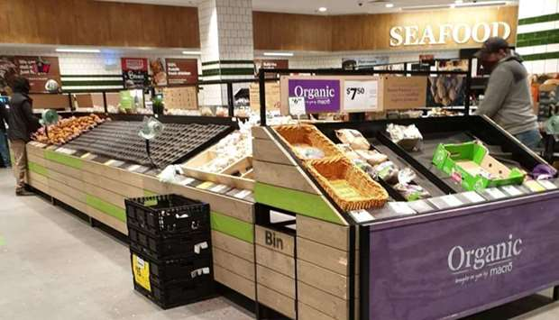Near empty shelves are seen at the vegetable section of a supermarket in Melbourne, Victoria, Austra