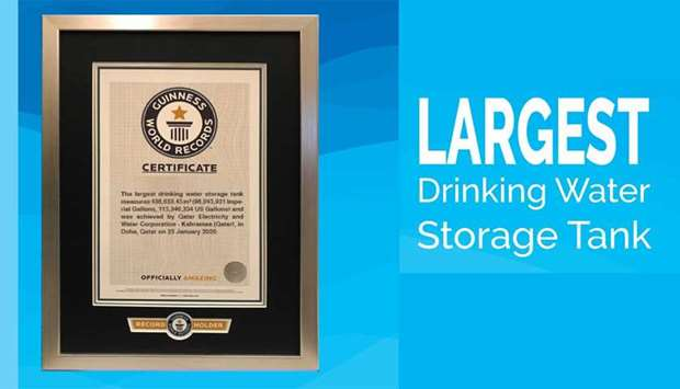 Kahramaa enters Guinness World Records for largest drinking water storage tank in the world