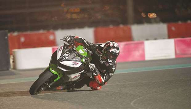 Saeed al-Sulaiti trains at the at the go-karting track of the Losail Circuit and Sports Club.