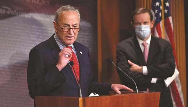 US Senate Minority Leader Chuck Schumer, Democrat of New York, speaks to the press yesterday, at the