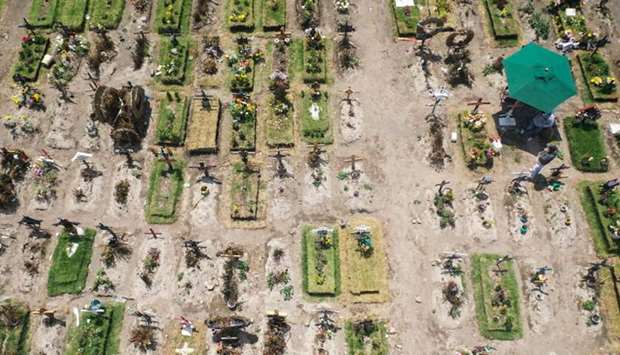Aerial view of graves at the special area for Covid-19 victims of the Municipal Pantheon of Valle de