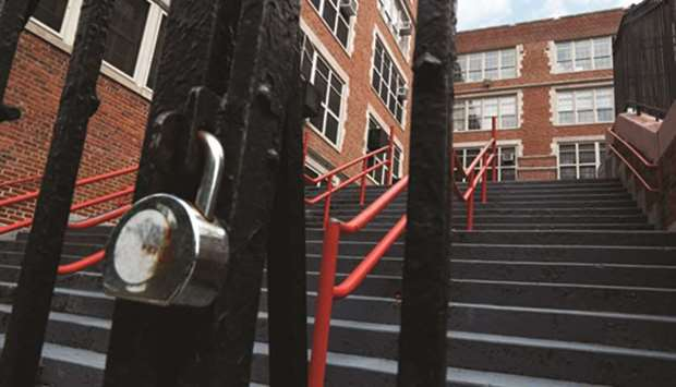 The East Side Community High school in New York City is seen closed yesterday.