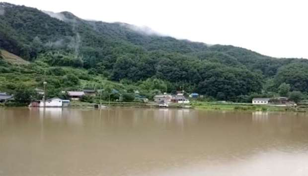 General view shows flooding along Seomjin River amid monsoon rains in Gokseong