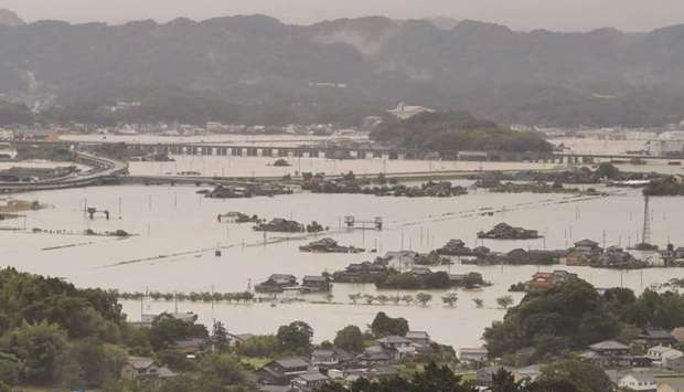 An overview of an residential area caused by a torrential rain in Takeo, Saga prefecture, Japan.